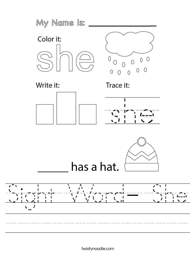 Sight Word- She Worksheet