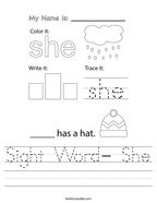 Sight Word- She Handwriting Sheet