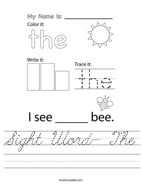 Sight Word- The Worksheet