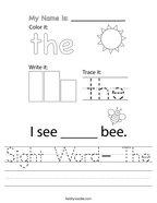 Sight Word- The Handwriting Sheet