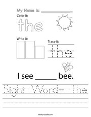 Sight Word- The Handwriting Sheet