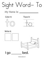 Sight Word- To Coloring Page