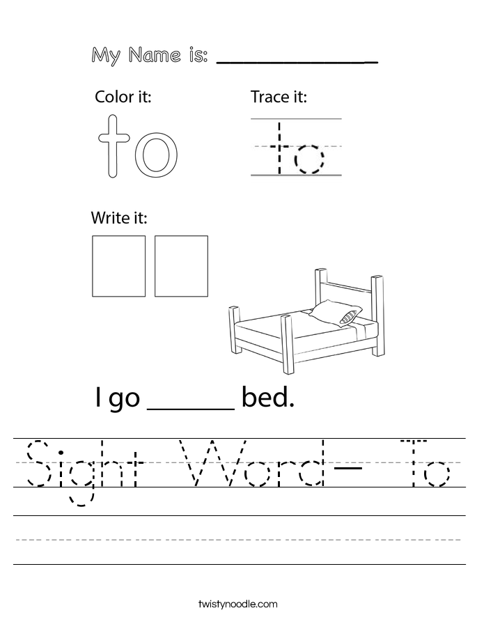 Sight Word- To Worksheet