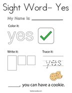Sight Word- Yes Coloring Page