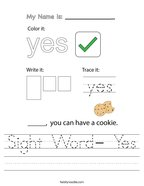 Sight Word- Yes Handwriting Sheet