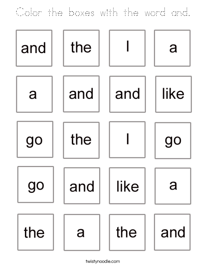 Color the boxes with the word and. Coloring Page