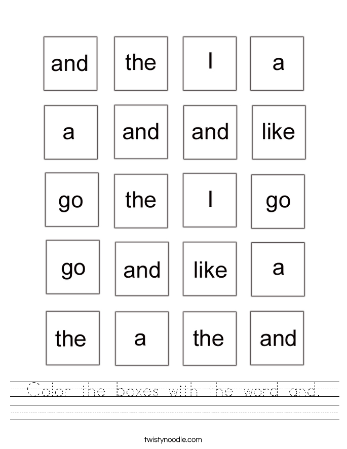 Color the boxes with the word and. Worksheet