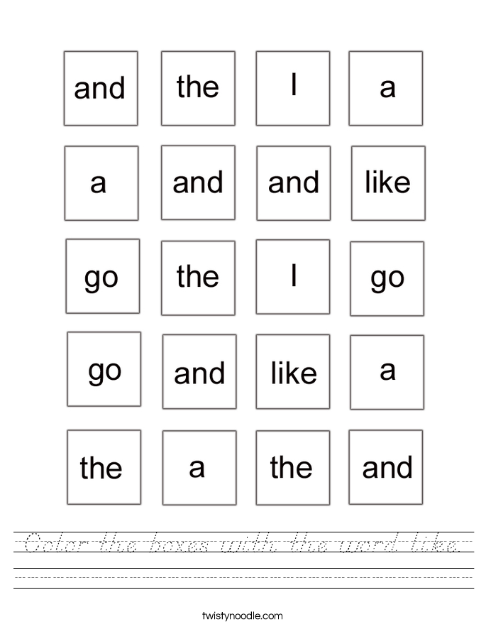 Color the boxes with the word like. Worksheet