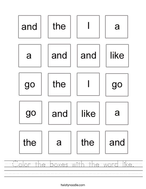 Color The Boxes With The Word Like Worksheet on Sight Words Practice Word Search Is It Me Go