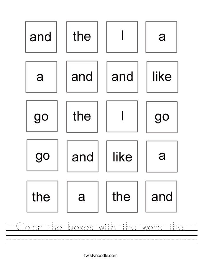 Color Word Handwriting Worksheets - Worksheet & Coloring Pages