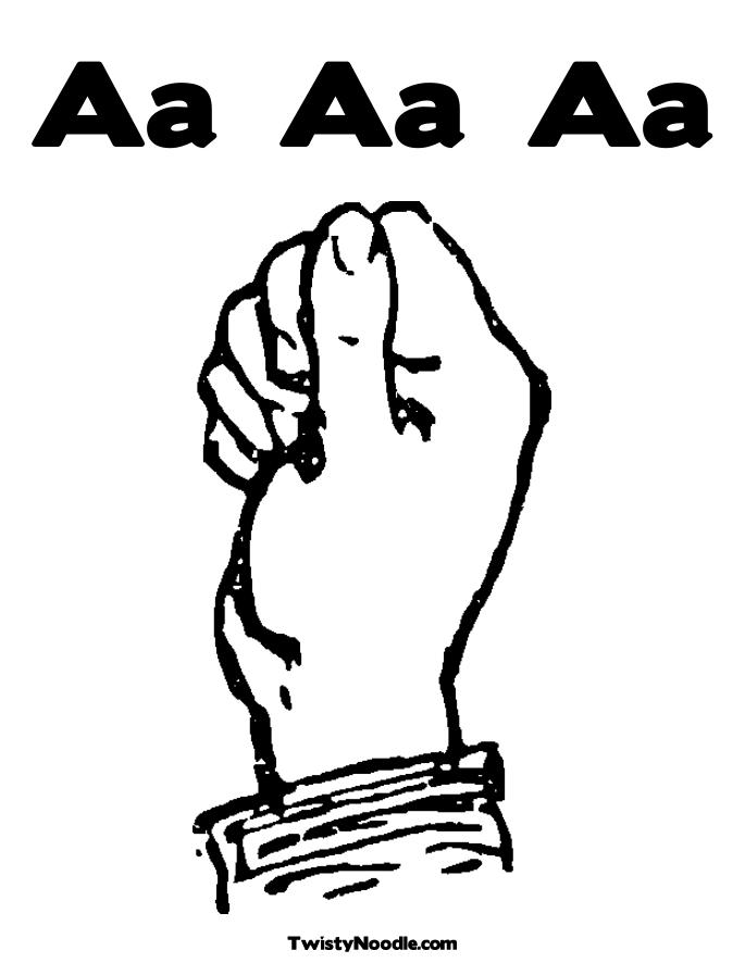 Coloring Pages Sign Language Alphabet : Free c sign language coloring pages