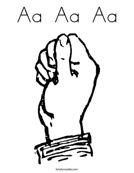 Sign Language Letter A Coloring Page
