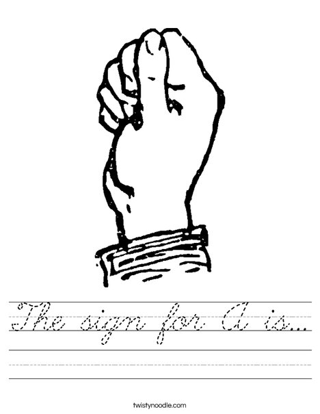 Sign Language Letter A Worksheet