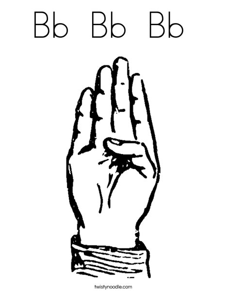 Sign Language Letter B Coloring Page