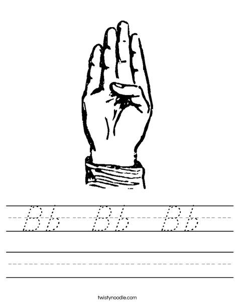 Sign Language Letter B Worksheet