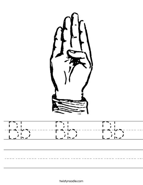 Sign Language Letter B Worksheet