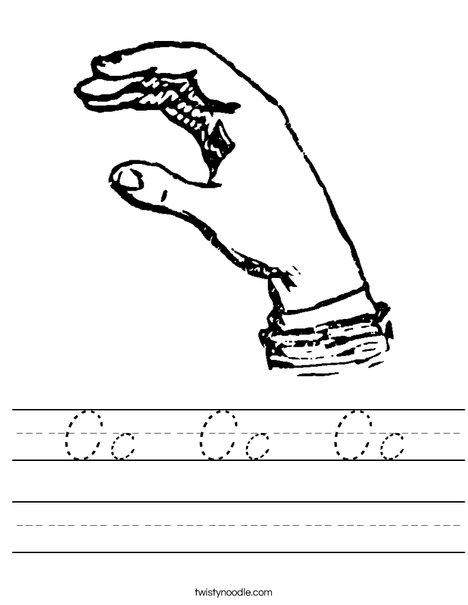 Sign Language Letter C Worksheet