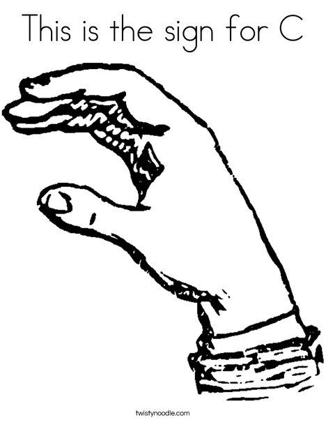 Sign Language Letter C Coloring Page