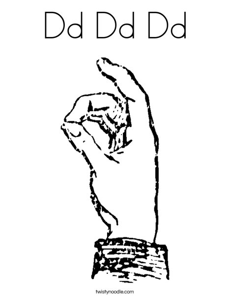 Sign Language Letter D Coloring Page
