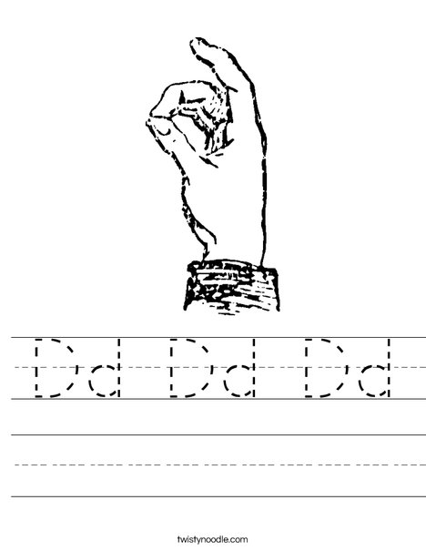 Sign Language Letter D Worksheet