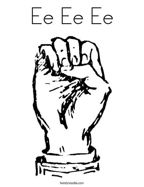 Sign Language Letter E Coloring Page