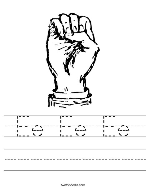 Sign Language Letter E Worksheet