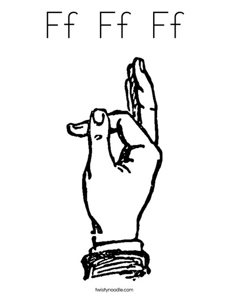 Sign Language Letter F Coloring Page