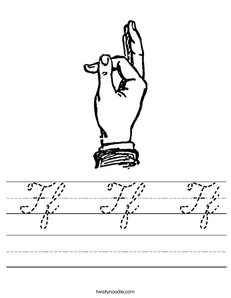 Sign Language Letter F Worksheet