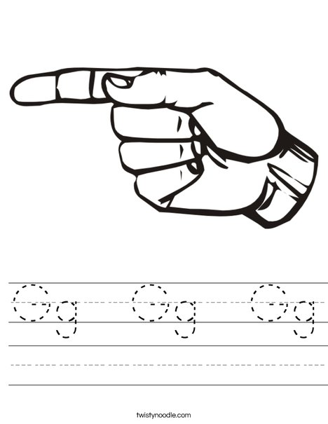 Sign Language Letter G Worksheet