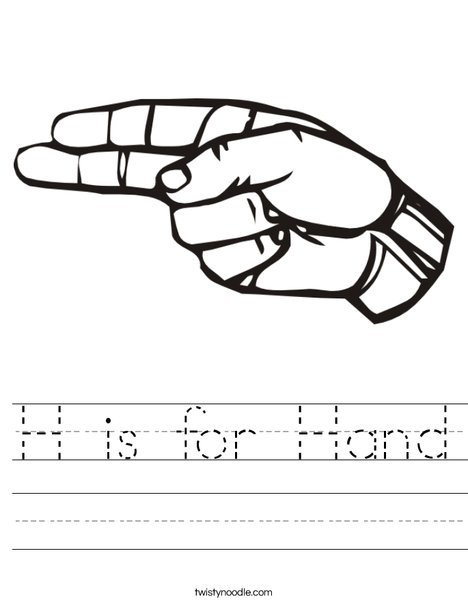 Sign Language Letter H Worksheet