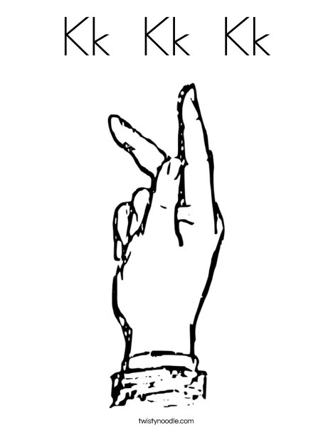 Sign Language Letter K Coloring Page