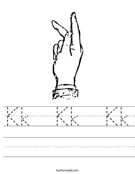 Sign Language Letter K Worksheet