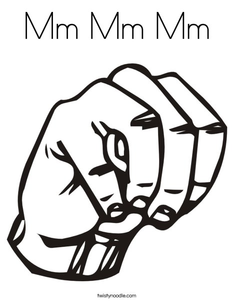 Sign Language Letter M Coloring Page
