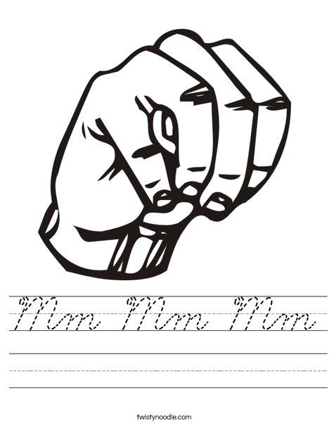Sign Language Letter M Worksheet