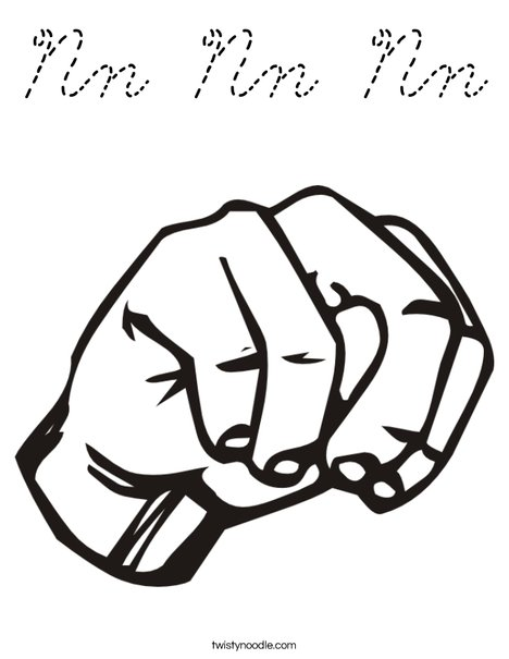 Sign Language Letter N Coloring Page