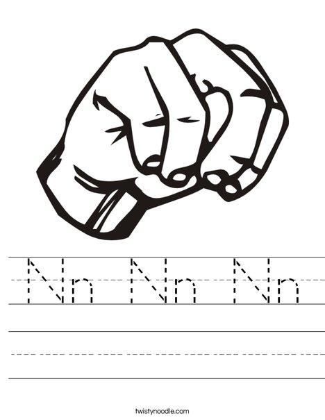 Sign Language Letter N Worksheet