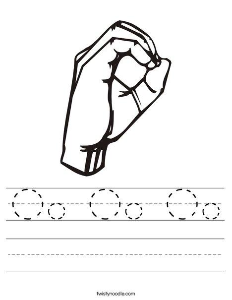 Sign Language Letter O Worksheet