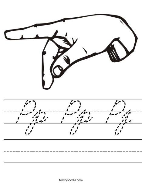 Sign Language Letter P Worksheet