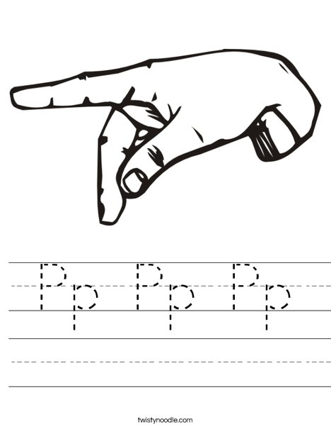 Sign Language Letter P Worksheet