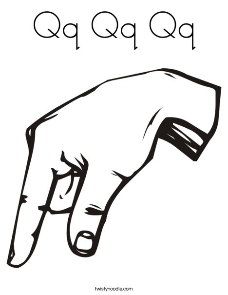 Sign Language Letter Q Coloring Page