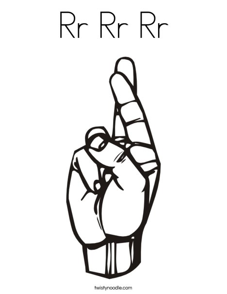 Sign Language Letter R Coloring Page