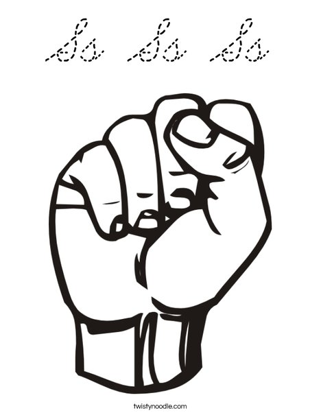Sign Language Letter S Coloring Page