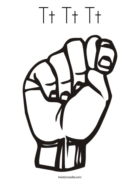Sign Language Letter T Coloring Page