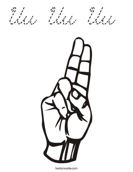 Sign Language Letter U Coloring Page
