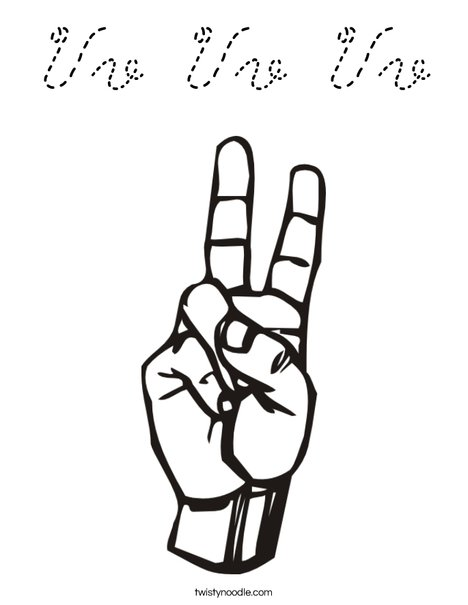 Sign Language Letter V Coloring Page