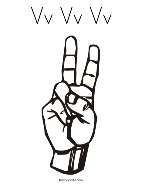 Sign Language Letter V Coloring Page