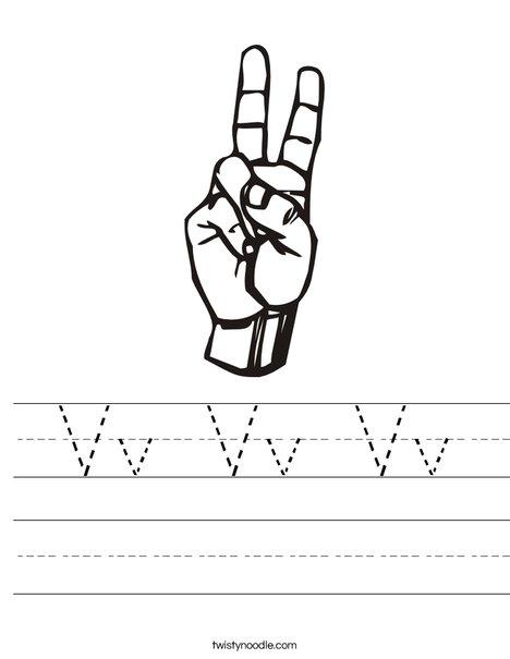 Sign Language Letter V Worksheet