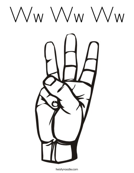 Sign Language Letter W Coloring Page