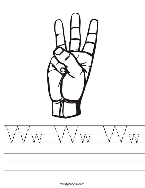 Sign Language Letter W Worksheet