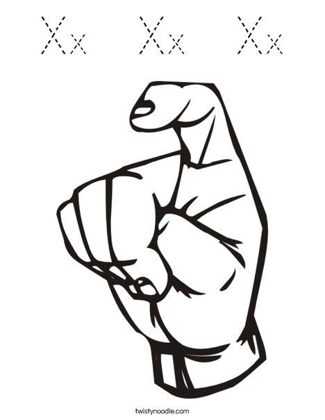 Sign Language Letter X Coloring Page